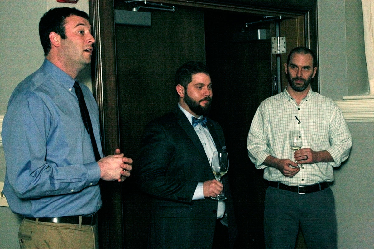 Undercurrent partner, Wes Wheeler, Undercurrent Restaurant Service Manager/Wine Director Brandon Allen, Josh Bohlen of Grapvine Distributors